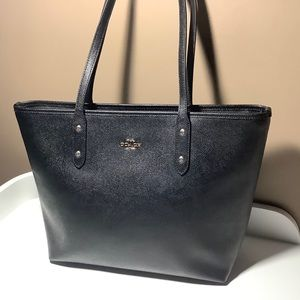 Coach City Zip Top 58846 Black Leather Tote